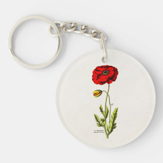Vintage 1800s Red Poppy Wild Flower Floral Poppies Keychain