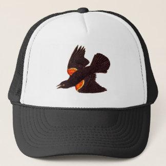 Vintage 1800s Red Winged Black Bird Illustration Trucker Hat