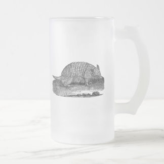 Vintage 1800s Retro Armadillo Antique Armadillos 16 Oz Frosted Glass Beer Mug