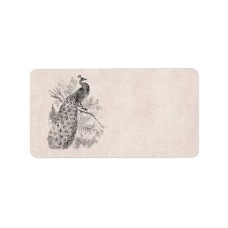 Vintage 1800s Retro PeacockIllustration Template Label