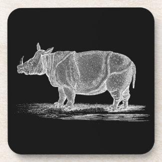 Vintage 1800s Rhinoceros Illustration - Rhino Beverage Coasters