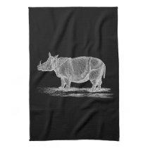 Vintage 1800s Rhinoceros Illustration - Rhino Kitchen Towel