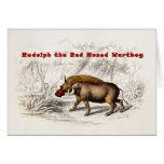 Vintage 1800s Rudolph the Red Nosed Warthog Greeting Card