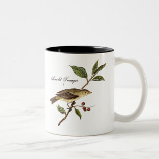 Vintage 1800s Scarlet Tanager Bird Songbird Birds Two-Tone Coffee Mug