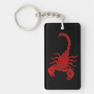 Vintage 1800s Scorpion Illustration Red Scorpions Keychain