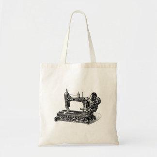 Vintage 1800s Sewing Machine Illustration Budget Tote Bag
