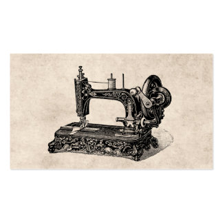 Vintage 1800s Sewing Machine Illustration Business Card Template