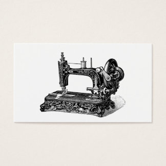Vintage 1800s Sewing Machine Illustration Business Card