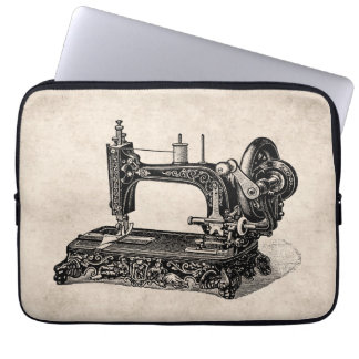 Vintage 1800s Sewing Machine Illustration Computer Sleeve