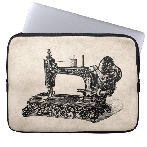 Vintage 1800s Sewing Machine Illustration Computer Sleeve