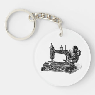 Vintage 1800s Sewing Machine Illustration Double-Sided Round Acrylic Keychain