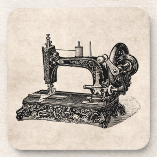 Vintage 1800s Sewing Machine Illustration Drink Coaster