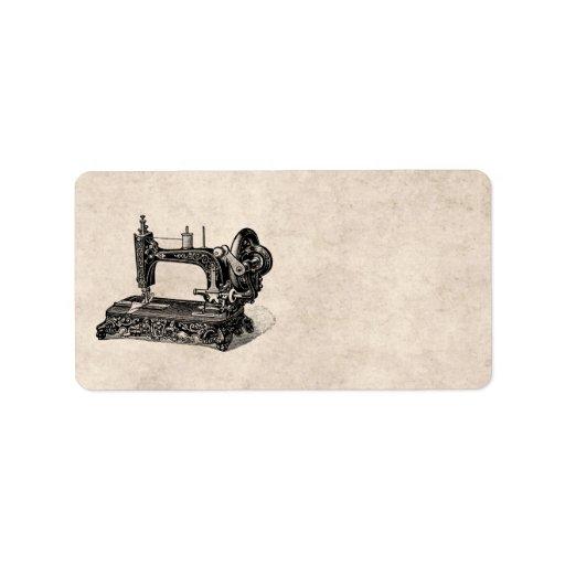 vintage 1800s sewing machine illustration label