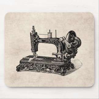 Vintage 1800s Sewing Machine Illustration Mouse Pad