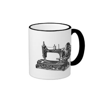 Vintage 1800s Sewing Machine Illustration Coffee Mugs