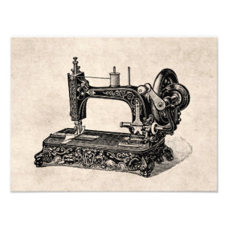Vintage 1800s Sewing Machine Illustration Photo Print