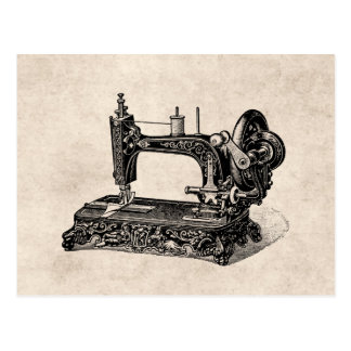 Vintage 1800s Sewing Machine Illustration Postcard