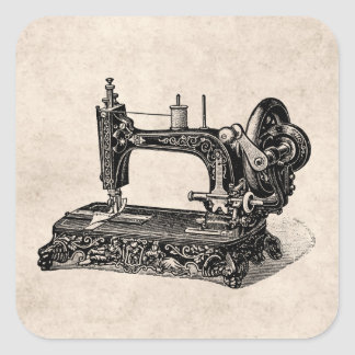 Vintage 1800s Sewing Machine Illustration Square Sticker