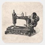 Vintage 1800s Sewing Machine Illustration Square Sticker