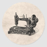 Vintage 1800s Sewing Machine Illustration Classic Round Sticker