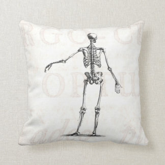 Vintage 1800s Skeleton Antique Anatomy Skeletons Throw Pillow