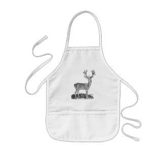 Vintage 1800s Stag Deer Antlers Retro Template Kids' Apron