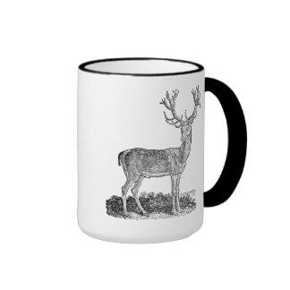 Vintage 1800s Stag Deer Antlers Retro Template Ringer Coffee Mug