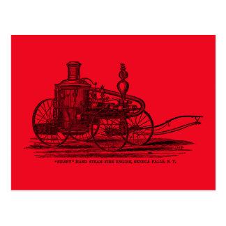 Vintage 1800s Steam Fire Engine Red Fire Truck Postcard