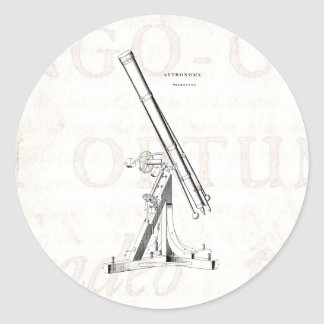 Vintage 1800s Telescope Antique Astronomy Template Classic Round Sticker