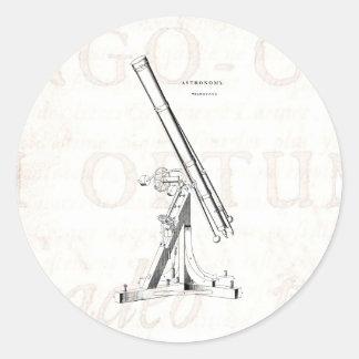 Vintage 1800s Telescope Antique Astronomy Template Classic Round Sticker