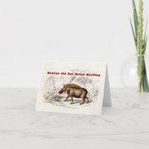 Vintage 1800s the Red Nosed Warthog Holiday Card