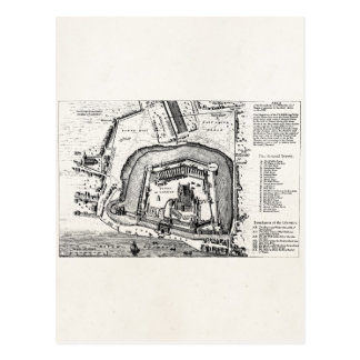 Vintage 1800s Tower of London Antique Map England Postcard
