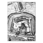 Vintage 1800s Tower of London Retro Map England Greeting Card