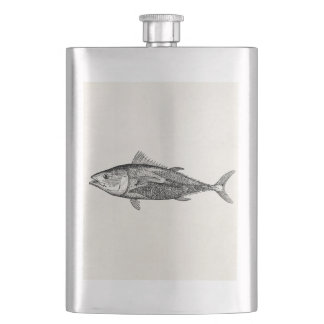 Vintage 1800s Tunny Fish Personalized Fishing Hip Flask