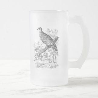 Vintage 1800s Turtle Dove Bird Doves Pigeon Birds Frosted Glass Beer Mug