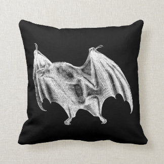 Vintage 1800s Vampire Bat Illustration - Halloween Throw Pillow