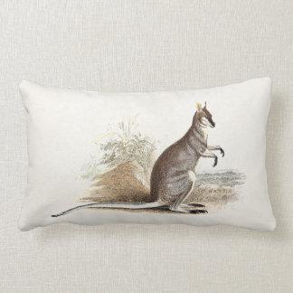 Vintage 1800s Wallaby Kangaroo Antique Wallabies Lumbar Pillow
