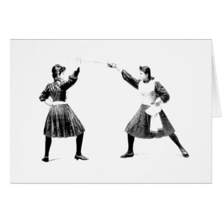 Vintage 1800s Women's Fencing Note Card