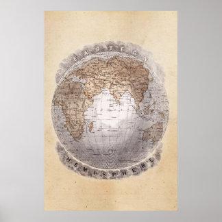 Vintage 1800s World Map Eastern Hemisphere Globe Poster
