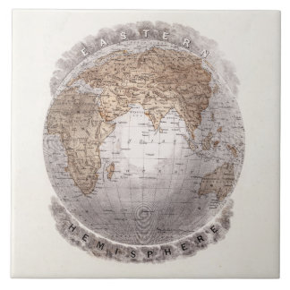 Vintage 1800s World Map Eastern Hemisphere Globe Tile