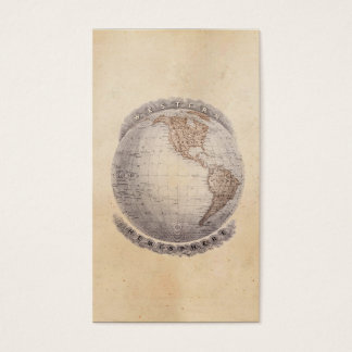 Vintage 1800s World Map Western Hemisphere Globe Business Card