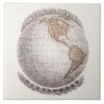 Vintage 1800s World Map Western Hemisphere Globe Ceramic Tile