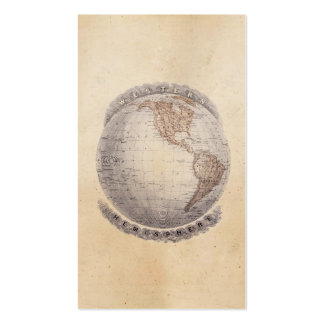 Vintage 1800s World Map Western Hemisphere Globe Double-Sided Standard Business Cards (Pack Of 100)