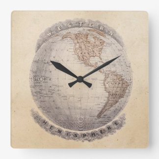 Vintage 1800s World Map Western Hemisphere Globe Square Wall Clock