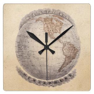 Vintage 1800s World Map Western Hemisphere Globe Square Wall Clocks