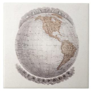 Vintage 1800s World Map Western Hemisphere Globe Tile