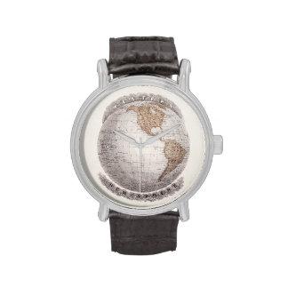 Vintage 1800s World Map Western Hemisphere Globe Wrist Watches