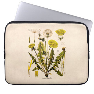 Vintage 1800s Yellow Dandelion Gone to Seed Floral Laptop Sleeves