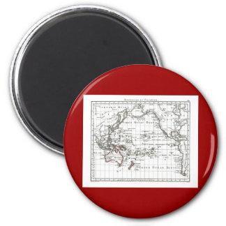 Vintage 1806 Map - Australasie et Polynesie 2 Inch Round Magnet