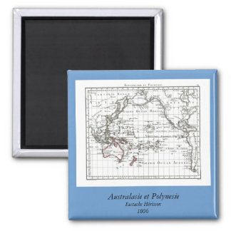 Vintage 1806 Map - Australasie et Polynesie 2 Inch Square Magnet